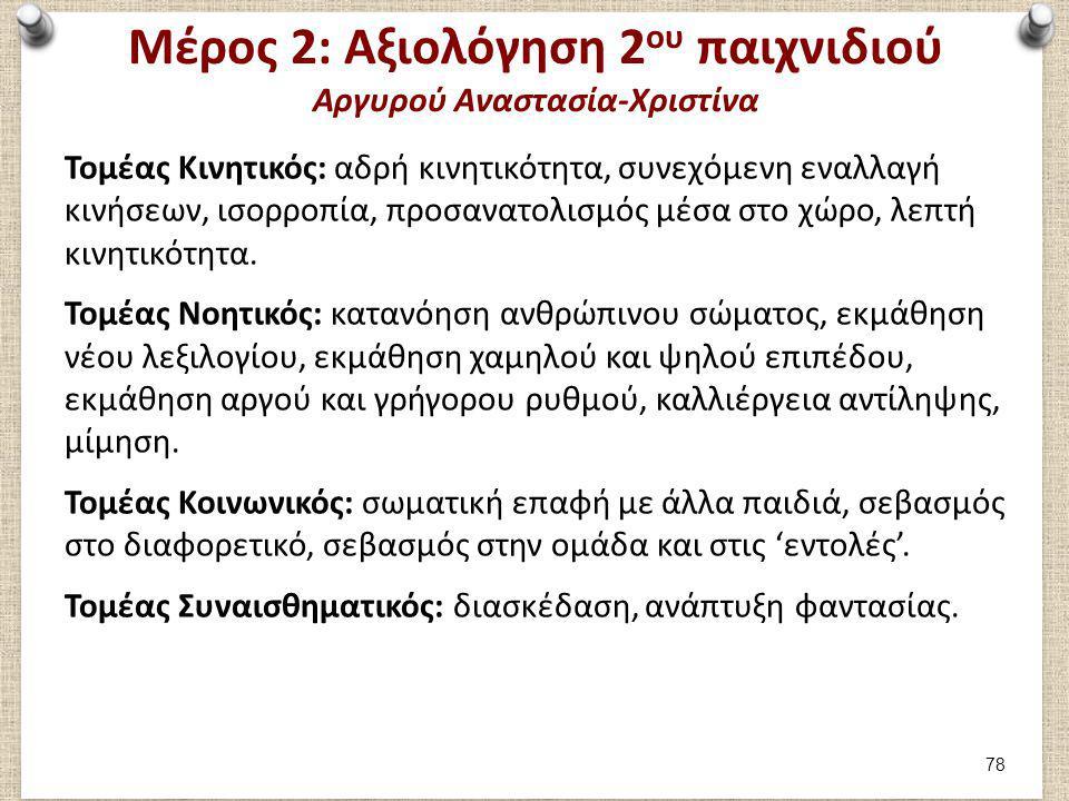 Μέρος 2: Αξιολόγηση 2 ου παιχνιδιού Αργυρού Αναστασία-Χριστίνα Τομέας Κινητικός: αδρή κινητικότητα, συνεχόμενη εναλλαγή κινήσεων, ισορροπία, προσανατο