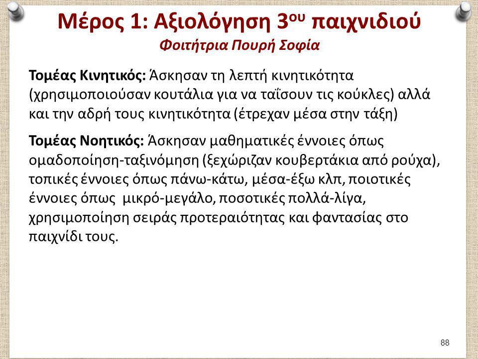 Μέρος 1: Αξιολόγηση 3 ου παιχνιδιού Φοιτήτρια Πουρή Σοφία Τομέας Κινητικός: Άσκησαν τη λεπτή κινητικότητα (χρησιμοποιούσαν κουτάλια για να ταΐσουν τις