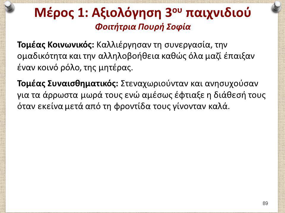 Μέρος 1: Αξιολόγηση 3 ου παιχνιδιού Φοιτήτρια Πουρή Σοφία Τομέας Κοινωνικός: Καλλιέργησαν τη συνεργασία, την ομαδικότητα και την αλληλοβοήθεια καθώς ό