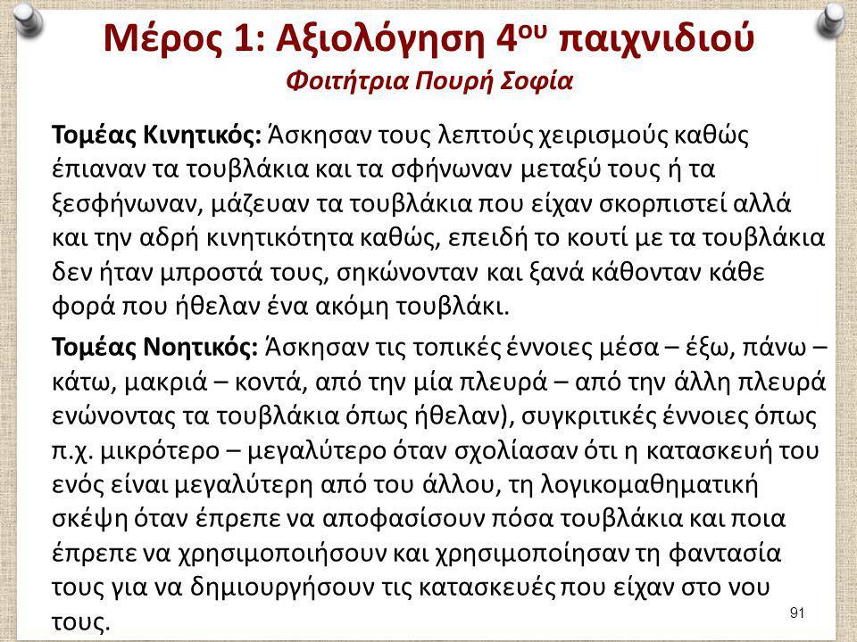 Μέρος 1: Αξιολόγηση 4 ου παιχνιδιού Φοιτήτρια Πουρή Σοφία Τομέας Κινητικός: Άσκησαν τους λεπτούς χειρισμούς καθώς έπιαναν τα τουβλάκια και τα σφήνωναν