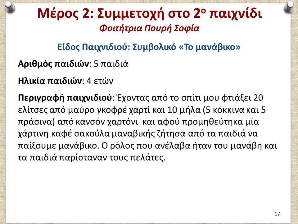 Μέρος 2: Συμμετοχή στο 2 ο παιχνίδι Φοιτήτρια Πουρή Σοφία Είδος Παιχνιδιού: Συμβολικό «Το μανάβικο» Αριθμός παιδιών: 5 παιδιά Ηλικία παιδιών: 4 ετών Π