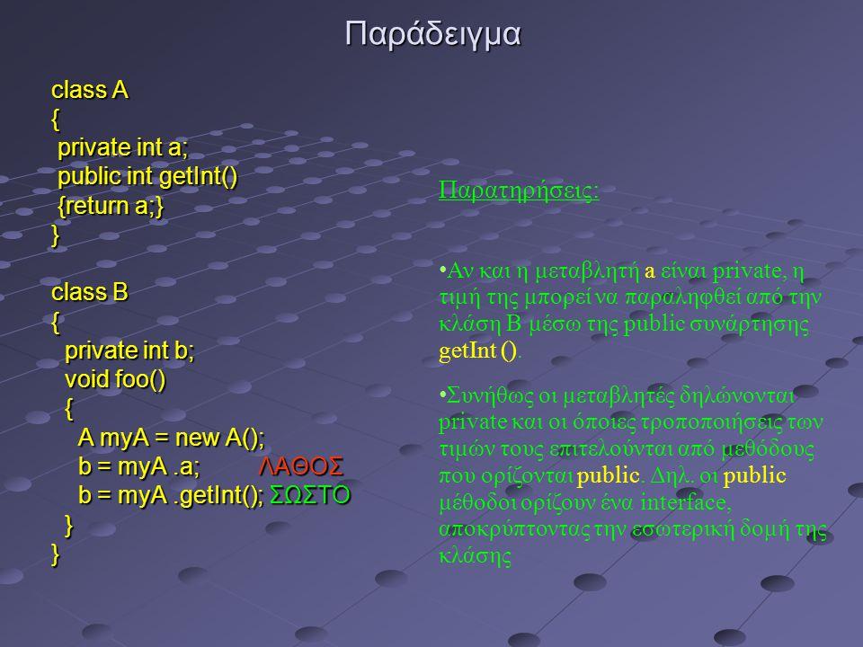 Παράδειγμα class A { private int a; private int a; public int getInt() public int getInt() {return a;} {return a;}} class B { private int b; private int b; void foo() void foo() { A myA = new A(); A myA = new A(); b = myA.a; ΛΑΘΟΣ b = myA.a; ΛΑΘΟΣ b = myA.getInt(); ΣΩΣΤΟ b = myA.getInt(); ΣΩΣΤΟ }} Παρατηρήσεις: Αν και η μεταβλητή a είναι private, η τιμή της μπορεί να παραληφθεί από την κλάση B μέσω της public συνάρτησης getInt ().
