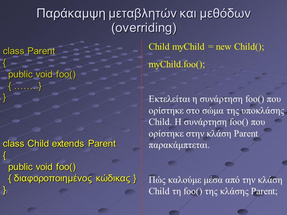 Παράκαμψη μεταβλητών και μεθόδων (overriding) class Parent { public void foo() public void foo() { …….