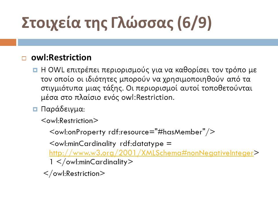 Στοιχεία της Γλώσσας (6/9)  owl:Restriction  Η OWL επιτρέπει περιορισμούς για να καθορίσει τον τρόπο με τον οποίο οι ιδιότητες μπορούν να χρησιμοποιηθούν από τα στιγμιότυπα μιας τάξης.