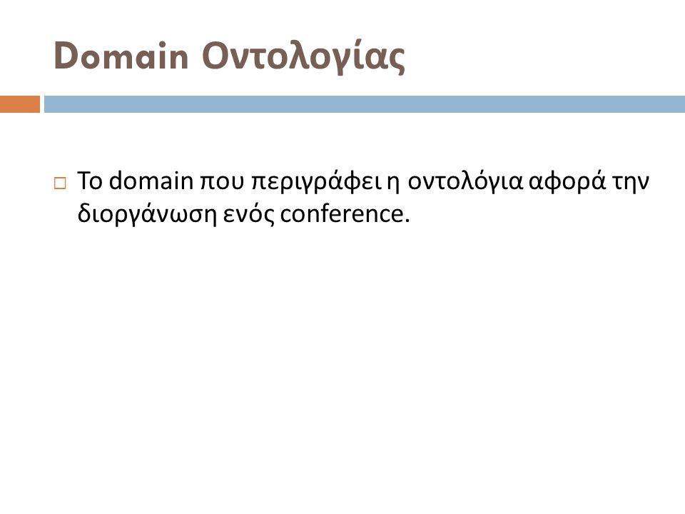 Domain Οντολογίας  Το domain που περιγράφει η οντολόγια αφορά την διοργάνωση ενός conference.