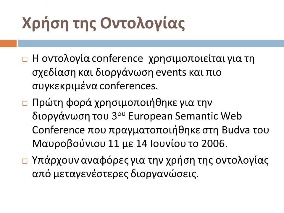 Χρήση της Οντολογίας  Η οντολογία conference χρησιμοποιείται για τη σχεδίαση και διοργάνωση events και πιο συγκεκριμένα conferences.
