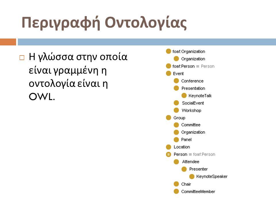 Περιγραφή Οντολογίας  Η γλώσσα στην οποία είναι γραμμένη η οντολογία είναι η OWL.