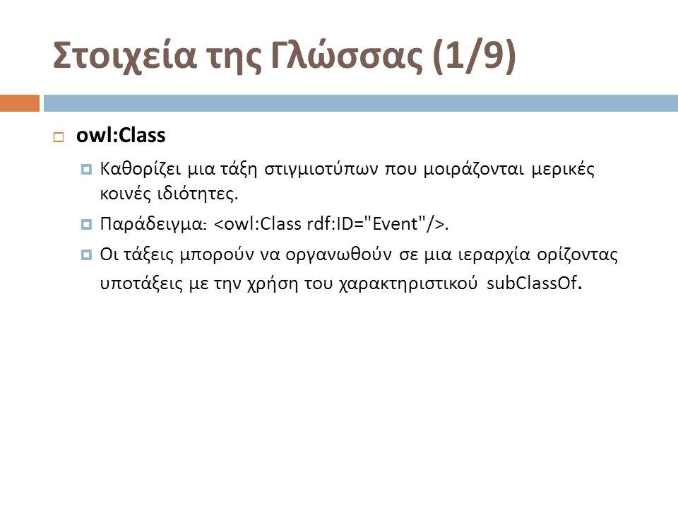 Στοιχεία της Γλώσσας (2/9)  owl:equivalentClass  Δύο τάξεις μπορούν να δηλωθούν ως ισοδύναμες.
