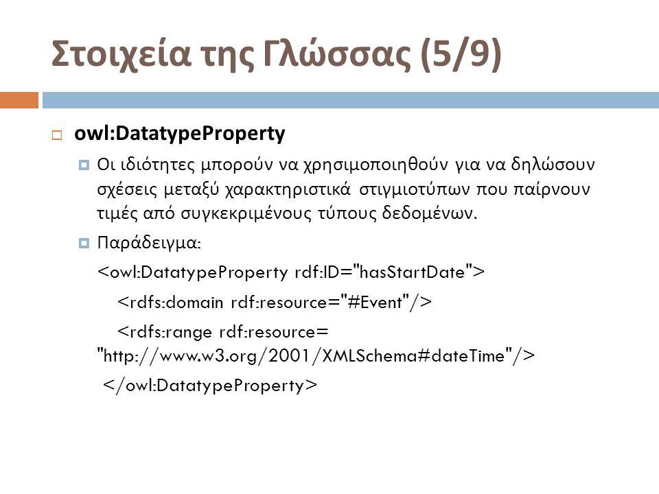 Στοιχεία της Γλώσσας (5/9)  owl:DatatypeProperty  Οι ιδιότητες μπορούν να χρησιμοποιηθούν για να δηλώσουν σχέσεις μεταξύ χαρακτηριστικά στιγμιοτύπων που παίρνουν τιμές από συγκεκριμένους τύπους δεδομένων.