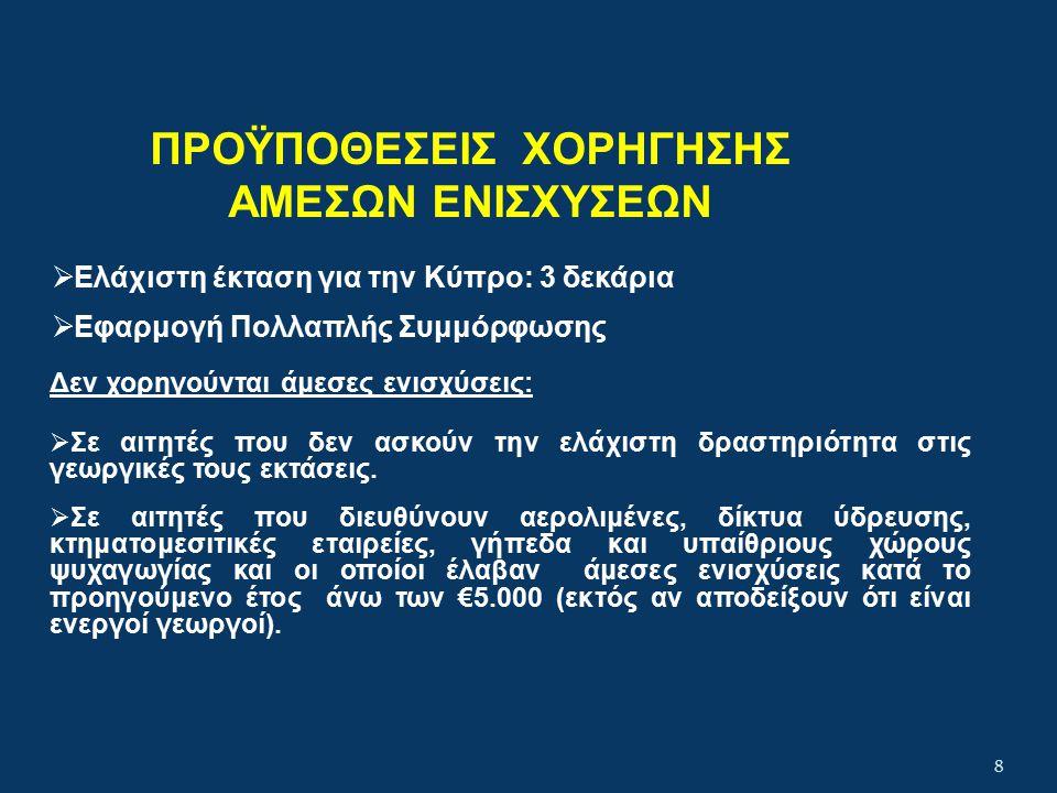 8 ΠΡΟΫΠΟΘΕΣΕΙΣ ΧΟΡΗΓΗΣΗΣ ΑΜΕΣΩΝ ΕΝΙΣΧΥΣΕΩΝ  Ελάχιστη έκταση για την Κύπρο: 3 δεκάρια  Εφαρμογή Πολλαπλής Συμμόρφωσης Δεν χορηγούνται άμεσες ενισχύσεις:  Σε αιτητές που δεν ασκούν την ελάχιστη δραστηριότητα στις γεωργικές τους εκτάσεις.