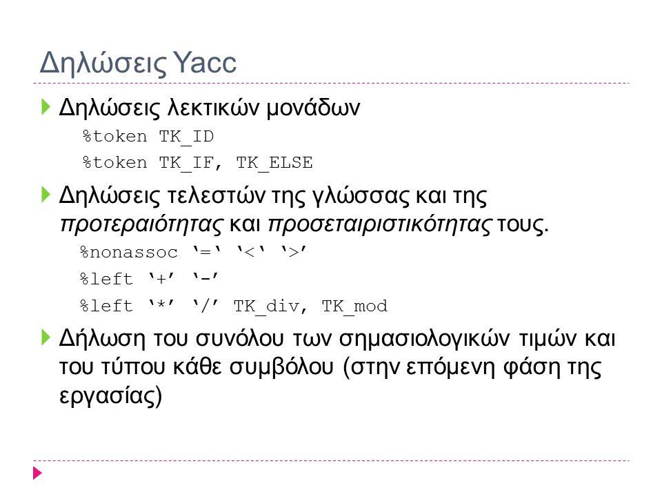 Δηλώσεις Yacc  Δηλώσεις λεκτικών μονάδων %token TK_ID %token TK_IF, TK_ELSE  Δηλώσεις τελεστών της γλώσσας και της προτεραιότητας και προσεταιριστικ