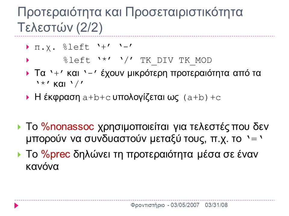 Κανόνες Παραγωγής Γραμματικής  Η περιγραφή της γραμματικής της γλώσσας γίνεται με κανόνες παραγωγής διατυπωμένους σε BNF μορφή  Γενική μορφή κανόνων:  αριστερό_μέλος: δεξιό_μέλος;  Το αριστερό μέλος είναι ένα μη τερματικό σύμβολο  Το δεξιό μέλος μπορεί να περιέχει μηδέν ή περισσότερα τερματικά και μη τερματικά σύμβολα  π.χ.