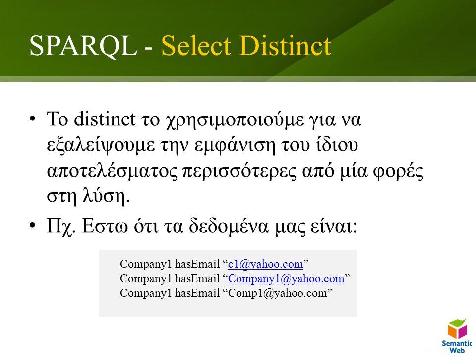 SPARQL - Select Distinct To distinct το χρησιμοποιούμε για να εξαλείψουμε την εμφάνιση του ίδιου αποτελέσματος περισσότερες από μία φορές στη λύση.