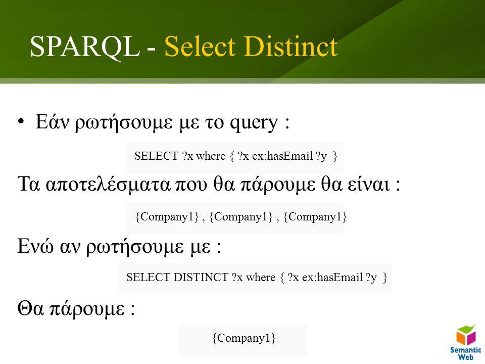 SPARQL - Select Distinct Εάν ρωτήσουμε με το query : Τα αποτελέσματα που θα πάρουμε θα είναι : Ενώ αν ρωτήσουμε με : Θα πάρουμε : SELECT x where { x ex:hasEmail y } {Company1}, {Company1}, {Company1} SELECT DISTINCT x where { x ex:hasEmail y } {Company1}