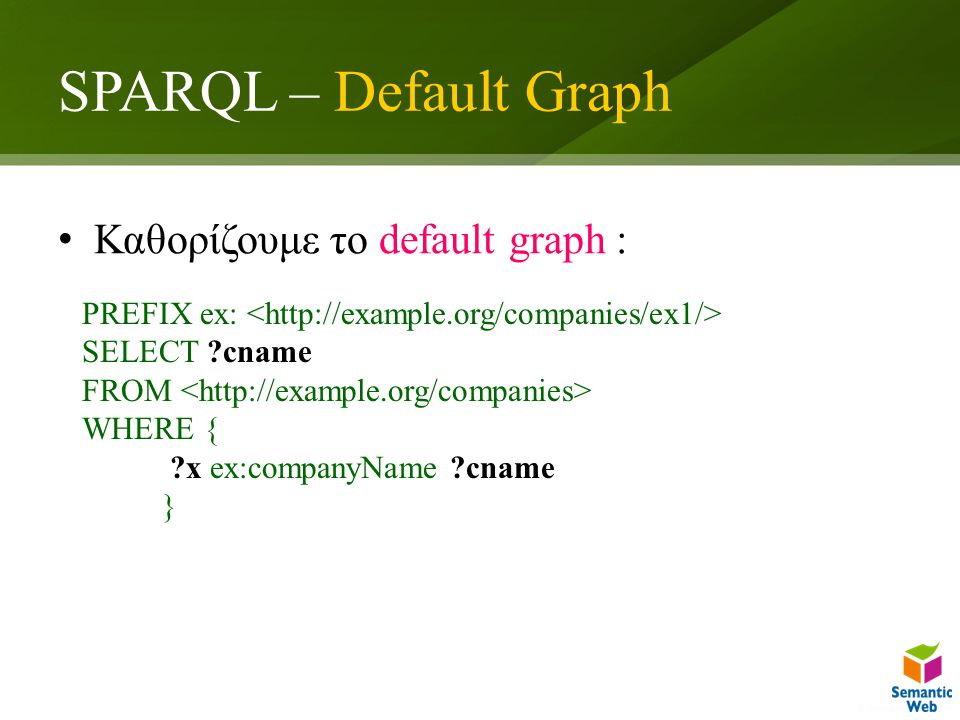 SPARQL – Default Graph Καθορίζουμε το default graph : PREFIX ex: SELECT ?cname FROM WHERE { ?x ex:companyName ?cname }