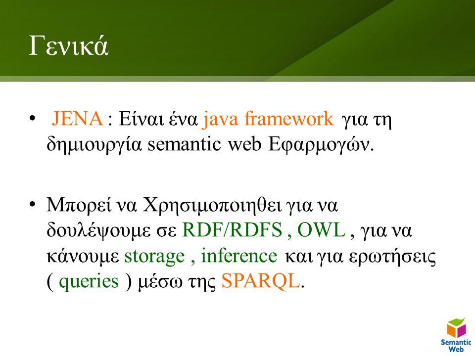 Γενικά JENA : Είναι ένα java framework για τη δημιουργία semantic web Εφαρμογών.