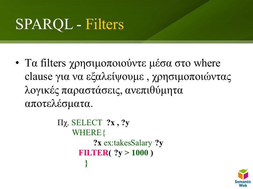 SPARQL - Filters Tα filters χρησιμοποιούντε μέσα στο where clause για να εξαλείψουμε, χρησιμοποιώντας λογικές παραστάσεις, ανεπιθύμητα αποτελέσματα.
