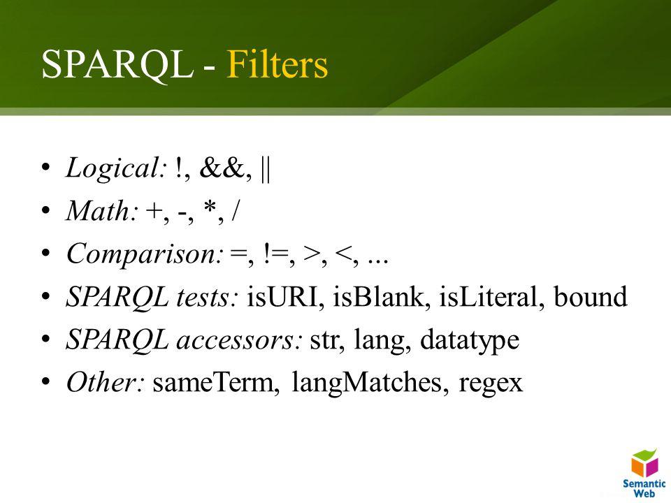 SPARQL - Filters Logical: !, &&, || Math: +, -, *, / Comparison: =, !=, >, <,... SPARQL tests: isURI, isBlank, isLiteral, bound SPARQL accessors: str,