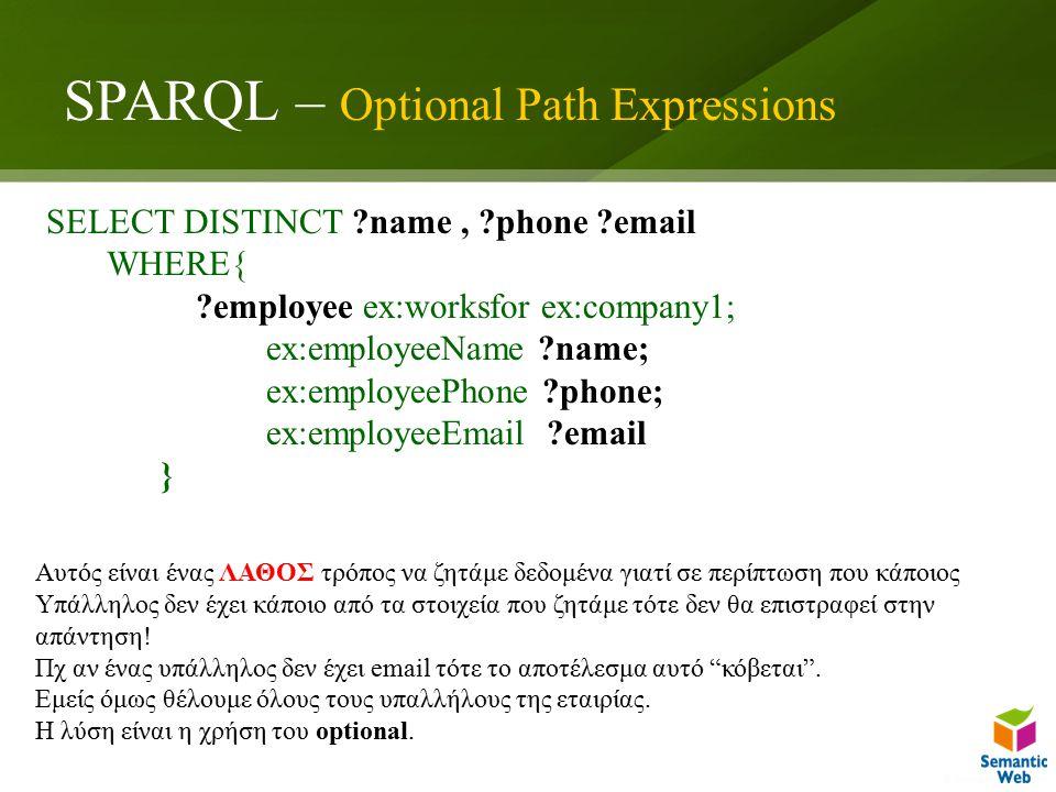 SPARQL – Optional Path Expressions SELECT DISTINCT name, phone email WHERE{ employee ex:worksfor ex:company1; ex:employeeName name; ex:employeePhone phone; ex:employeeEmail email } Αυτός είναι ένας ΛΑΘΟΣ τρόπος να ζητάμε δεδομένα γιατί σε περίπτωση που κάποιος Υπάλληλος δεν έχει κάποιο από τα στοιχεία που ζητάμε τότε δεν θα επιστραφεί στην απάντηση.