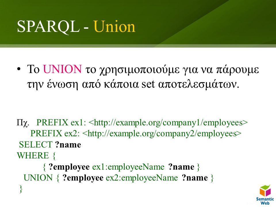 SPARQL - Union Το UNION το χρησιμοποιούμε για να πάρουμε την ένωση από κάποια set αποτελεσμάτων.
