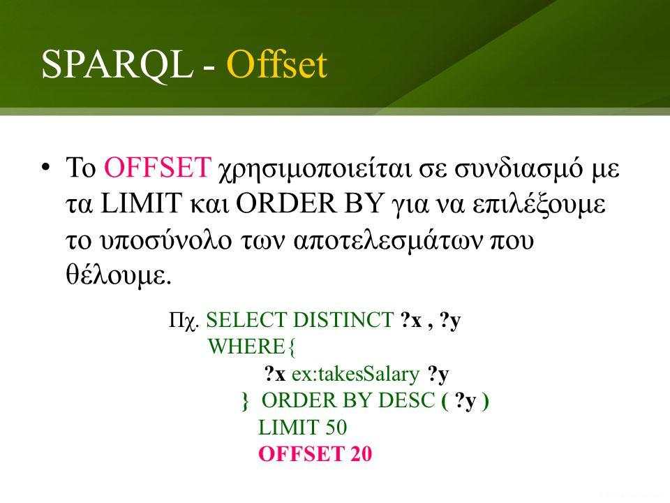 SPARQL - Offset To OFFSET χρησιμοποιείται σε συνδιασμό με τα LIMIT και ORDER BY για να επιλέξουμε το υποσύνολο των αποτελεσμάτων που θέλουμε.