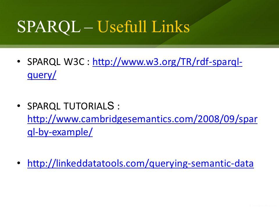 SPARQL – Usefull Links SPARQL W3C : http://www.w3.org/TR/rdf-sparql- query/http://www.w3.org/TR/rdf-sparql- query/ SPARQL TUTORIAL S : http://www.camb