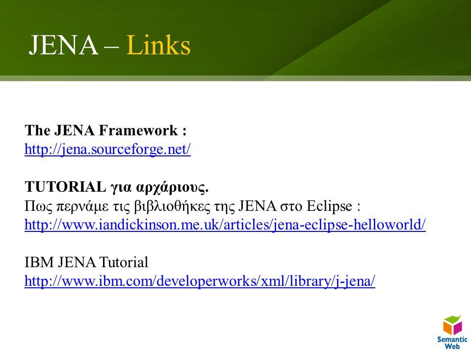 JENA – Links The JENA Framework : http://jena.sourceforge.net/ TUTORIAL για αρχάριους. Πως περνάμε τις βιβλιοθήκες της JENA στο Eclipse : http://www.i