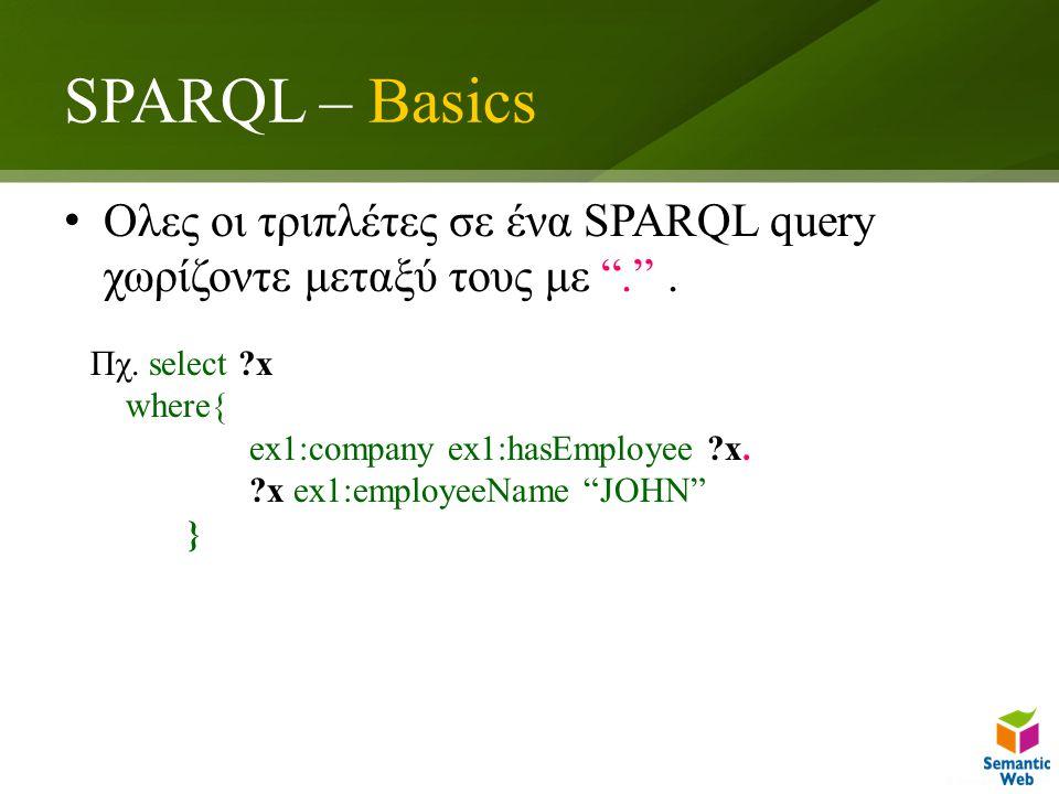 SPARQL – Basics Ολες οι τριπλέτες σε ένα SPARQL query χωρίζοντε μεταξύ τους με . .