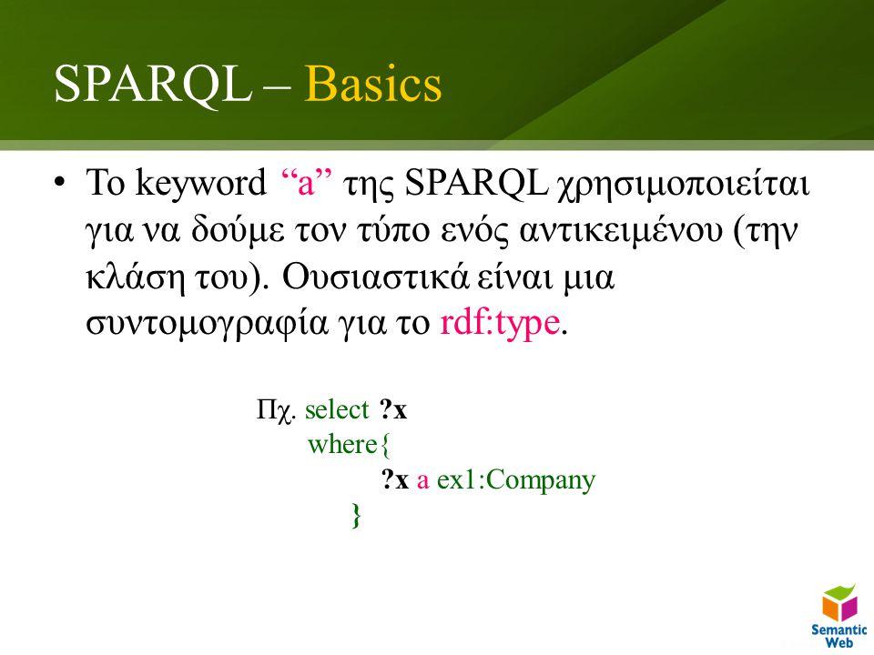 SPARQL – Basics To keyword a της SPARQL χρησιμοποιείται για να δούμε τον τύπο ενός αντικειμένου (την κλάση του).