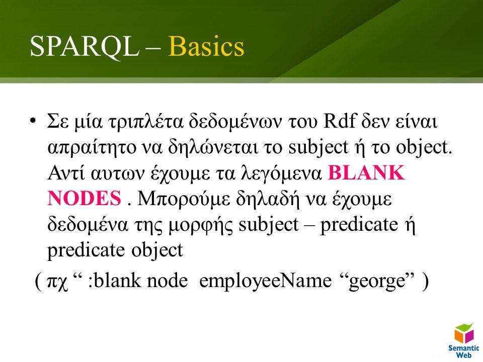 SPARQL – Basics Σε μία τριπλέτα δεδομένων του Rdf δεν είναι απραίτητο να δηλώνεται το subject ή το object.