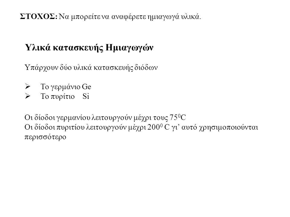 Εφαρμογές διόδων Στα ηλεκτρονικά αναλογικά κυκλώματα σαν ΑΝΟΡΘΩΤΕΣ (Ελεγχόμενοι διακόπτες για τη διέλευση ή όχι του ρεύματος) Στη Ραδιοφωνία & Τηλεόραση για την επιλογή της συχνότητας εκπομπής (Δίοδοι μεταβλητής συχνότητας) Πολλαπλασιαστής Τάσης (Ανύψωση της Τάσης)
