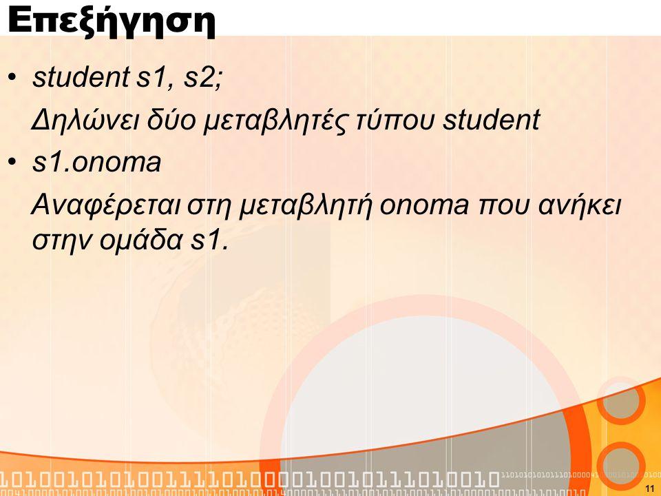 Επεξήγηση student s1, s2; Δηλώνει δύο μεταβλητές τύπου student s1.onoma Αναφέρεται στη μεταβλητή onoma που ανήκει στην ομάδα s1. 11