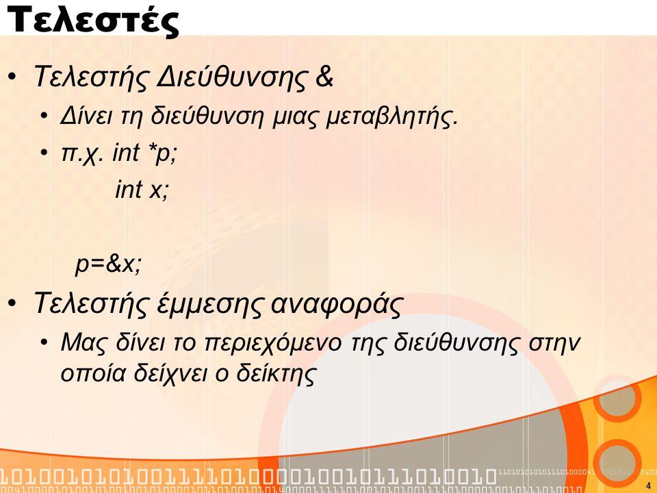 Τελεστές Τελεστής Διεύθυνσης & Δίνει τη διεύθυνση μιας μεταβλητής. π.χ. int *p; int x; p=&x; Τελεστής έμμεσης αναφοράς Μας δίνει το περιεχόμενο της δι