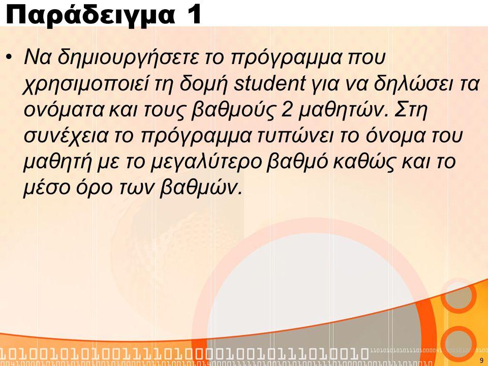 Παράδειγμα 1 Να δημιουργήσετε το πρόγραμμα που χρησιμοποιεί τη δομή student για να δηλώσει τα ονόματα και τους βαθμούς 2 μαθητών. Στη συνέχεια το πρόγ