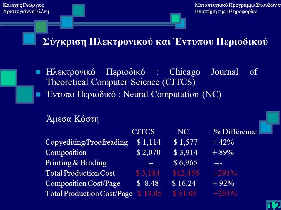 Κατέχης Γεώργιος Χριστογιάννη Ελένη Μεταπτυχιακό Πρόγραμμα Σπουδών στη Επιστήμη της Πληροφορίας 12 Σύγκριση Ηλεκτρονικού και Έντυπου Περιοδικού Ηλεκτρονικό Περιοδικό : Chicago Journal of Theoretical Computer Science (CJTCS) Έντυπο Περιοδικό : Neural Computation (NC) Άμεσα Κόστη CJTCS NC % Difference Copyediting/Proofreading $ 1,114 $ 1,577 + 42% Composition $ 2,070 $ 3,914 + 89% Printing & Binding -- $ 6,965 --- Total Production Cost $ 3,184 $12,456 +291% Composition Cost/Page $ 8.48 $ 16.24 + 92% Total Production Cost/Page $ 13.05 $ 51.05 +291%