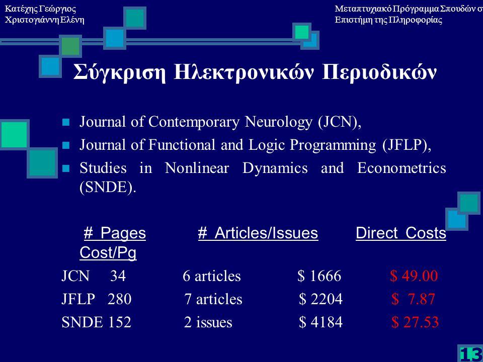 Κατέχης Γεώργιος Χριστογιάννη Ελένη Μεταπτυχιακό Πρόγραμμα Σπουδών στη Επιστήμη της Πληροφορίας 13 Σύγκριση Ηλεκτρονικών Περιοδικών Journal of Contemporary Neurology (JCN), Journal of Functional and Logic Programming (JFLP), Studies in Nonlinear Dynamics and Econometrics (SNDE).