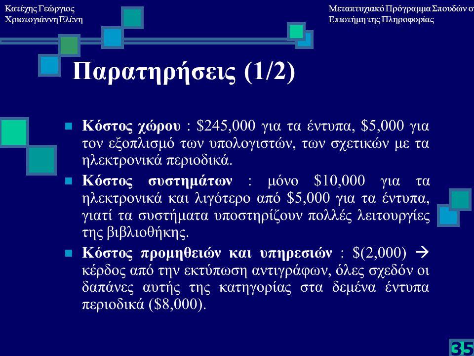 Κατέχης Γεώργιος Χριστογιάννη Ελένη Μεταπτυχιακό Πρόγραμμα Σπουδών στη Επιστήμη της Πληροφορίας 35 Παρατηρήσεις (1/2) Κόστος χώρου : $245,000 για τα έντυπα, $5,000 για τον εξοπλισμό των υπολογιστών, των σχετικών με τα ηλεκτρονικά περιοδικά.