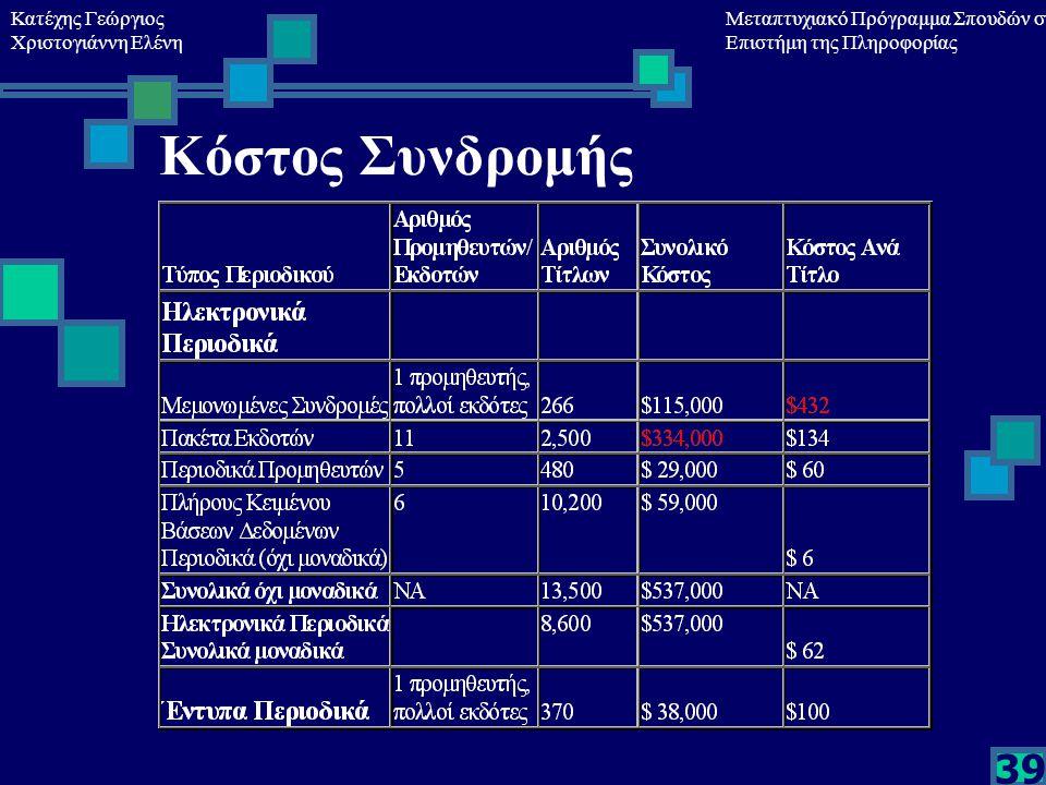 Κατέχης Γεώργιος Χριστογιάννη Ελένη Μεταπτυχιακό Πρόγραμμα Σπουδών στη Επιστήμη της Πληροφορίας 39 Κόστος Συνδρομής