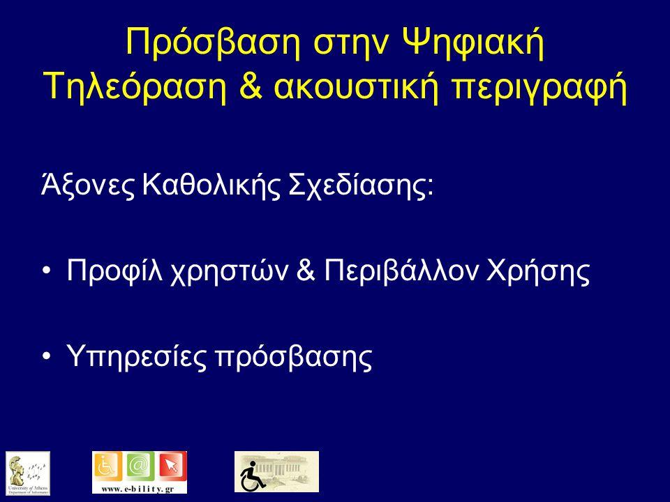 Καθολική Πρόσβαση = Μάχη με τη διαφορετικότητα Προφίλ ΧρηστώνΠροφίλ Χρηστών –Ηλικία, αισθητηριακές-κινητικές-νοητικές ικανότητες, εκπαιδευτικό & πολιτιστικό υπόβαθρο, κλπ Περιβάλλον Χρήσης & Είδος ΧρήσηςΠεριβάλλον Χρήσης & Είδος Χρήσης –Θόρυβος, φωτισμός, κλπ –Τεχνολογική πλατφόρμα χρήστη (π.χ.