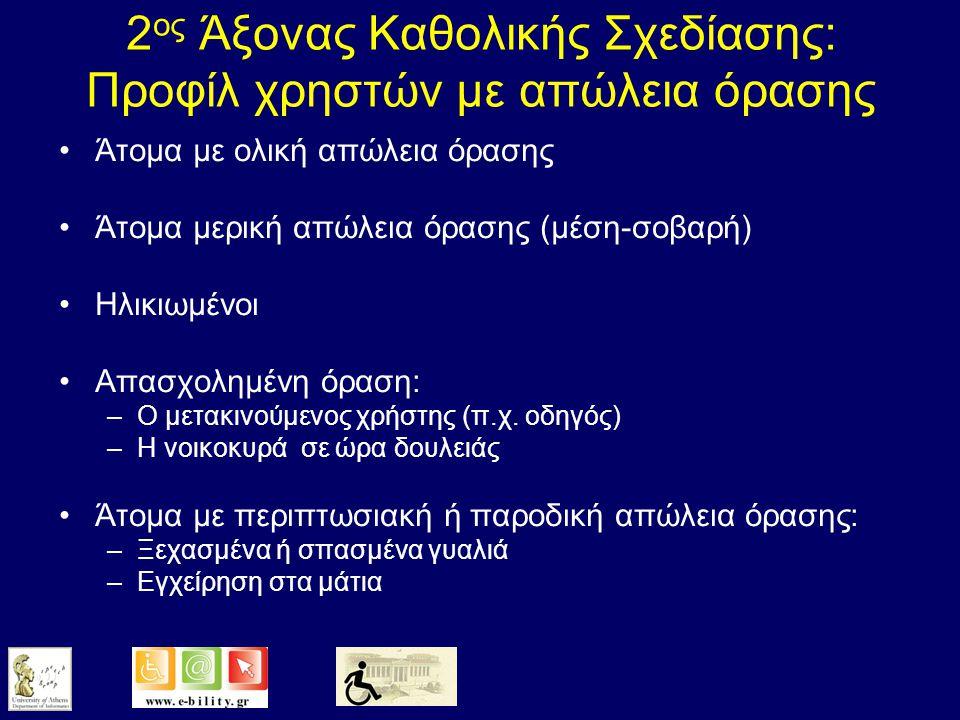 1 ος Άξονας Καθολικής Σχεδίασης: Υπηρεσίες πρόσβασης για άτομα με απώλεια όρασης Ακουστική περιγραφή Υπότιτλοι με ομιλία (talking subtitling) Ηλεκτρονικός Οδηγός Προγράμματος με Ομιλία (Talking Electronic Program Guide) Teletext με Ομιλία Χειρισμός δέκτη