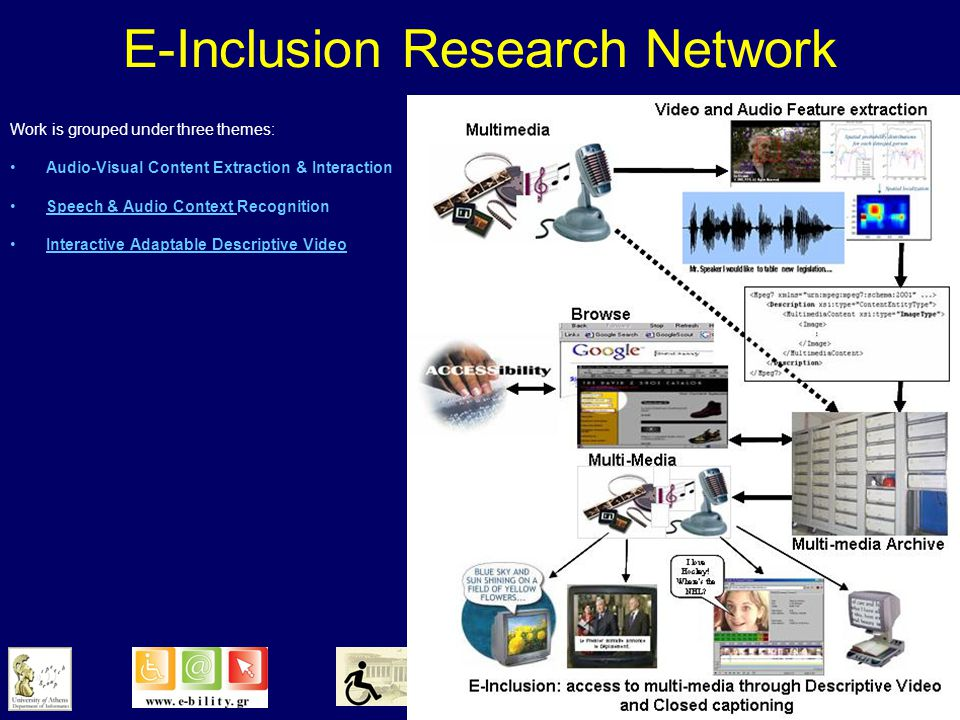 E-Inclusion Research Network providing all Canadians with a richer multi-media experience The expertise of the network researchers in: –speech recognition, –audio processing, –descriptive video, –automatic audio-visual content extraction, –human factors and –human-machine interaction will be applied to produce: descriptive video for the visually-impaired and captioned imagery for the hearing-impaired