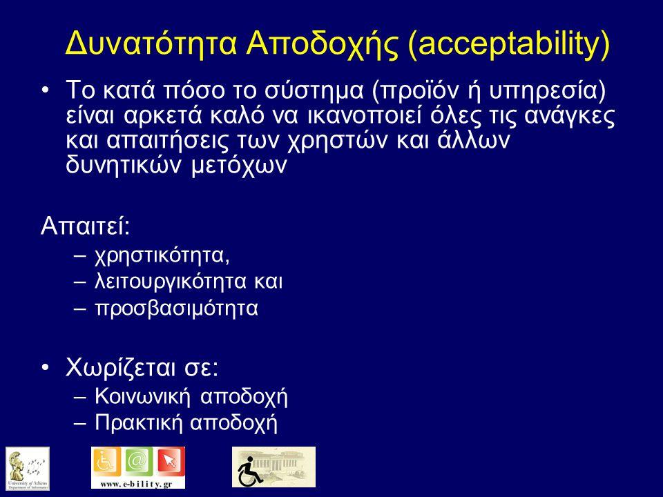 Προσβασιμότητα (accessibility) Η δυνατότητα του χρήστη να αλληλεπιδρά με φυσικό τρόπο με το προϊόν ή την υπηρεσία –π.χ.