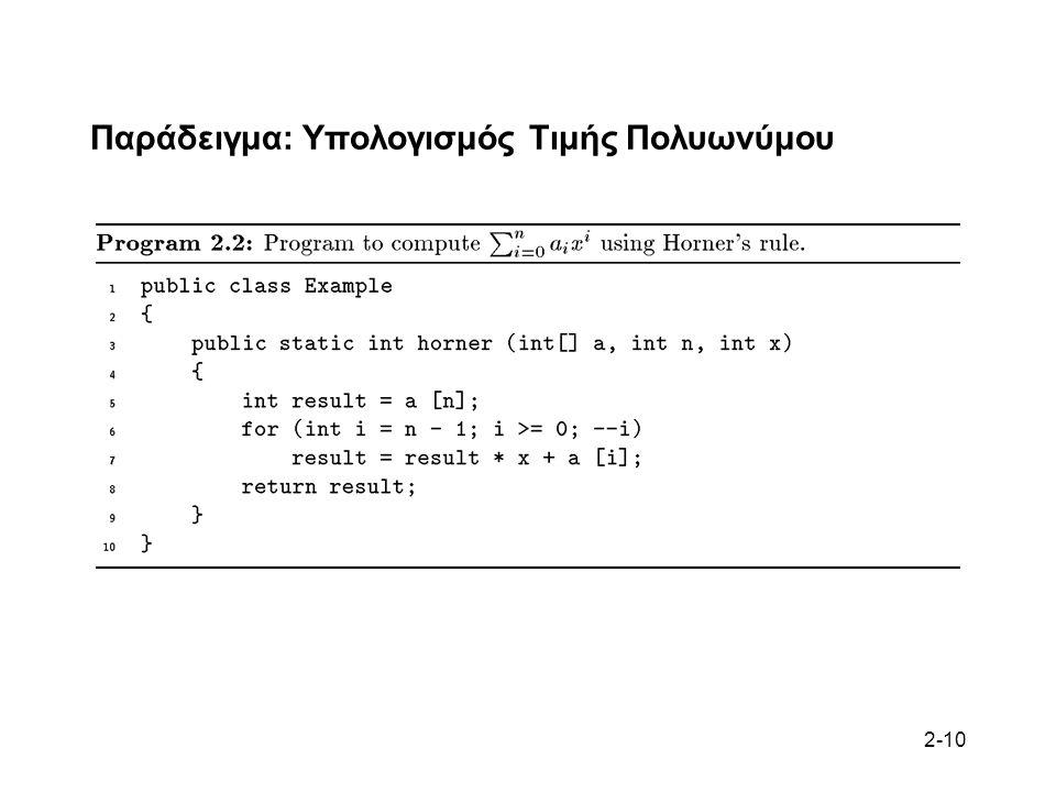 2-10 Παράδειγμα: Υπολογισμός Τιμής Πολυωνύμου