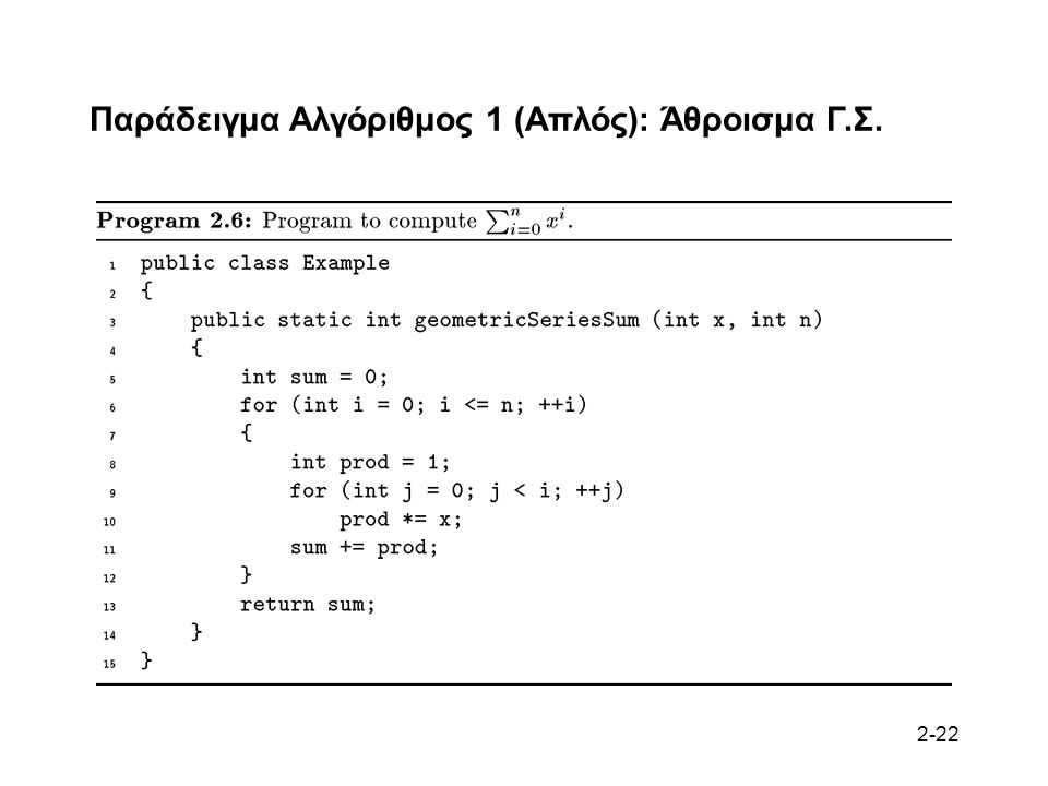 2-22 Παράδειγμα Αλγόριθμος 1 (Απλός): Άθροισμα Γ.Σ.