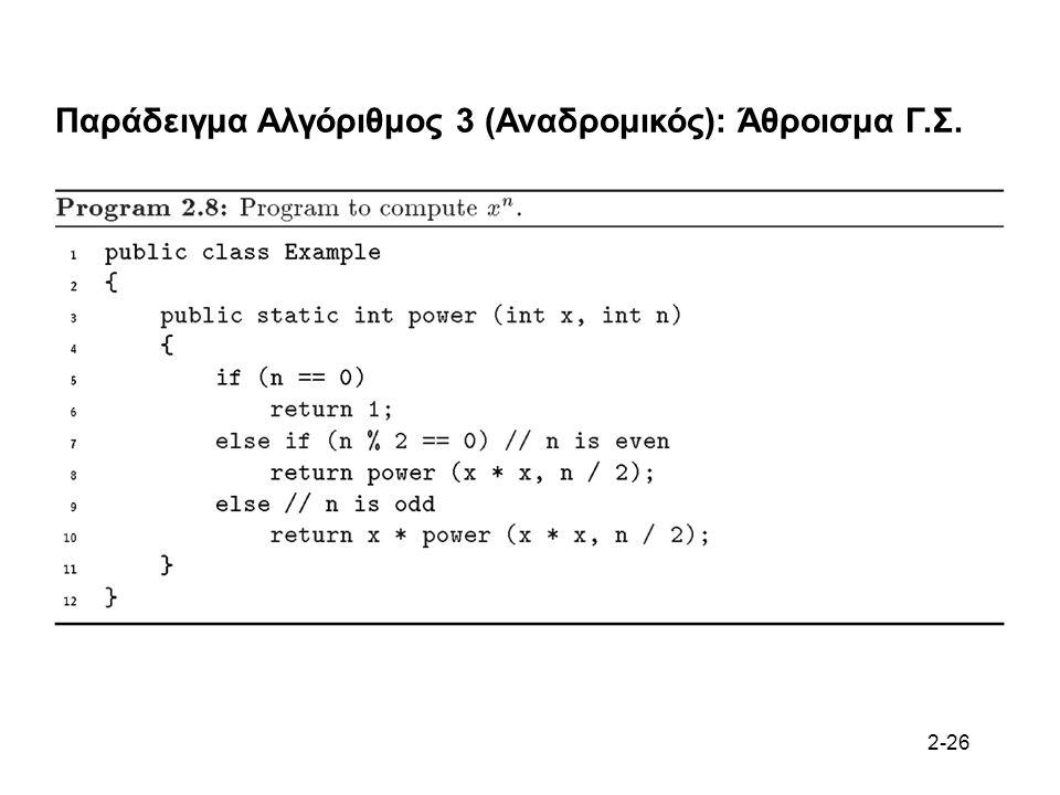 2-26 Παράδειγμα Αλγόριθμος 3 (Αναδρομικός): Άθροισμα Γ.Σ.