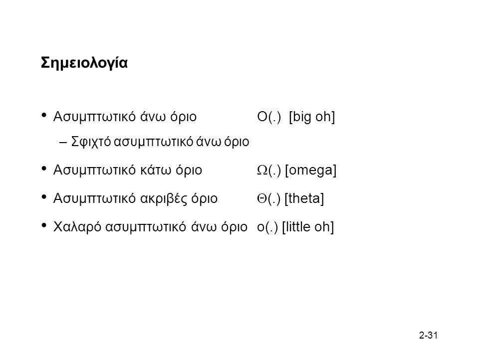 2-31 Σημειολογία Ασυμπτωτικό άνω όριοO(.) [big oh] –Σφιχτό ασυμπτωτικό άνω όριο Ασυμπτωτικό κάτω όριο  (.) [omega] Ασυμπτωτικό ακριβές όριο  (.) [theta] Χαλαρό ασυμπτωτικό άνω όριοo(.) [little oh]