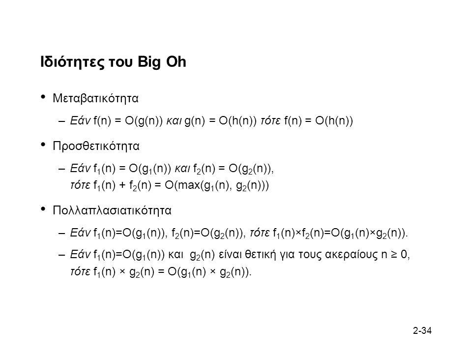 2-34 Ιδιότητες του Big Oh Μεταβατικότητα –Εάν f(n) = O(g(n)) και g(n) = O(h(n)) τότε f(n) = O(h(n)) Προσθετικότητα –Εάν f 1 (n) = O(g 1 (n)) και f 2 (n) = O(g 2 (n)), τότε f 1 (n) + f 2 (n) = O(max(g 1 (n), g 2 (n))) Πολλαπλασιατικότητα –Εάν f 1 (n)=O(g 1 (n)), f 2 (n)=O(g 2 (n)), τότε f 1 (n)×f 2 (n)=O(g 1 (n)×g 2 (n)).