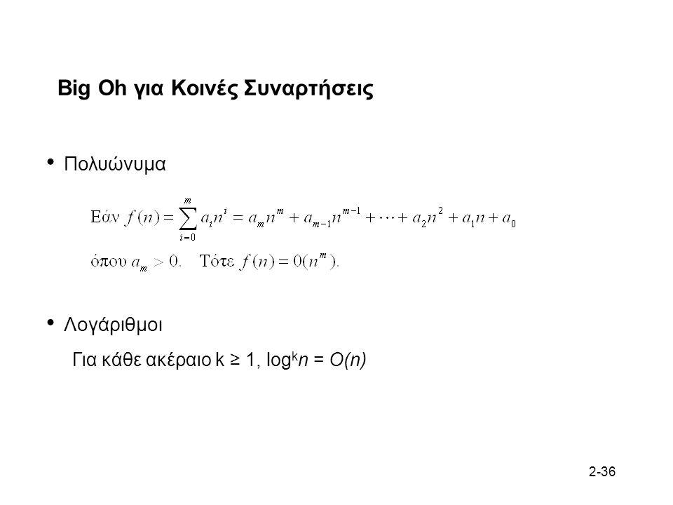 2-36 Big Oh για Κοινές Συναρτήσεις Πολυώνυμα Λογάριθμοι Για κάθε ακέραιο k ≥ 1, log k n = O(n)