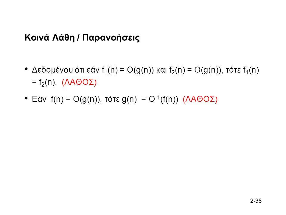 2-38 Κοινά Λάθη / Παρανοήσεις Δεδομένου ότι εάν f 1 (n) = O(g(n)) και f 2 (n) = O(g(n)), τότε f 1 (n) = f 2 (n).