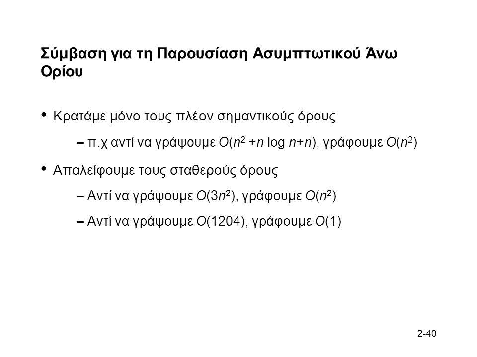 2-40 Σύμβαση για τη Παρουσίαση Ασυμπτωτικού Άνω Ορίου Κρατάμε μόνο τους πλέον σημαντικούς όρους – π.χ αντί να γράψουμε O(n 2 +n log n+n), γράφουμε O(n 2 ) Απαλείφουμε τους σταθερούς όρους – Αντί να γράψουμε O(3n 2 ), γράφουμε O(n 2 ) – Αντί να γράψουμε O(1204), γράφουμε O(1)